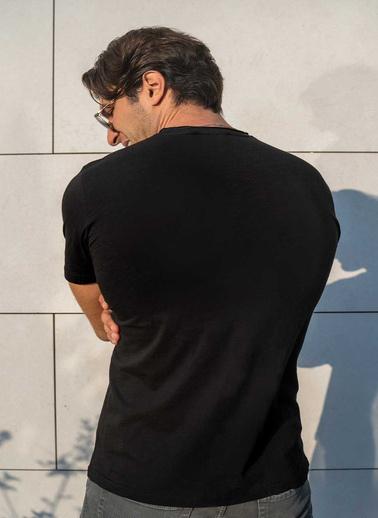 Silk and Cashmere More Pamuk Yuvarlak Yaka T-Shirt Siyah